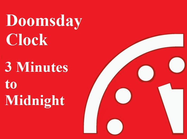 doomsday clock three minutes to midnight countdown