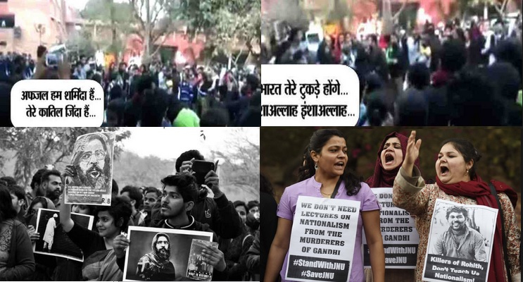 anti-india slogan poster flashes during jnu student protest